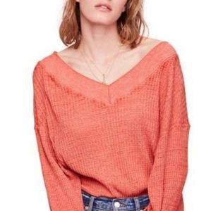 Free People  -  Thermal Top in Orange/Red